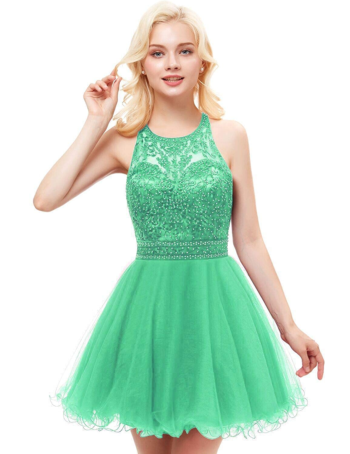 00 Mint Green Vimans Women's Short Tulle Homecoming Dresses 2018 Knee Length Lace Prom Gowns Dress448