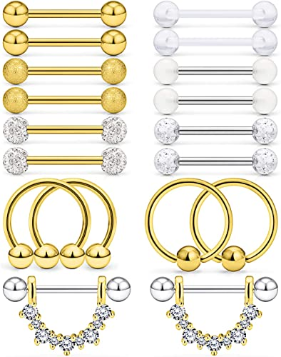 Cisyozi 6 Pairs-8 Pairs 14G Stainless Steel Screw Nipple Tongue Shield Ring Barbell Body Piercing Jewelry Retainer 9//16 Inch 14mm