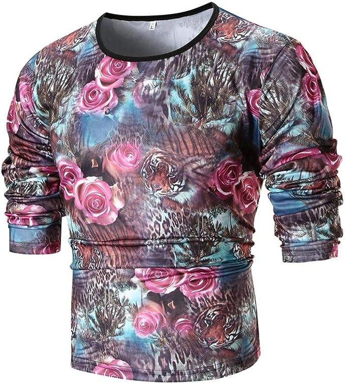Uomo Casual T-Shirt Manica Lunga Business Camicia Aderente Stampa Camicetta Top