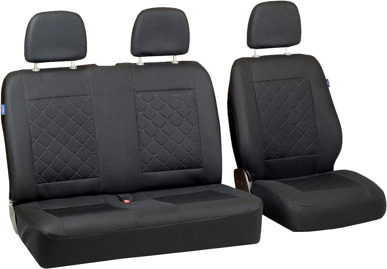 Couleur Premium Carr/és Noirs Ensemble De Housses 1+2 Zakschneider Housses De Si/ège pour Peugeot Partner Van