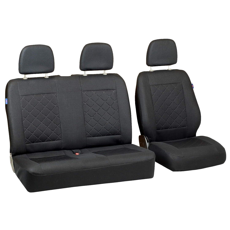 Conjunto De Fundas 1+2 Zakschneider Fundas De Asiento para Mitsubishi Canter Color Premium Cuadrados Negros