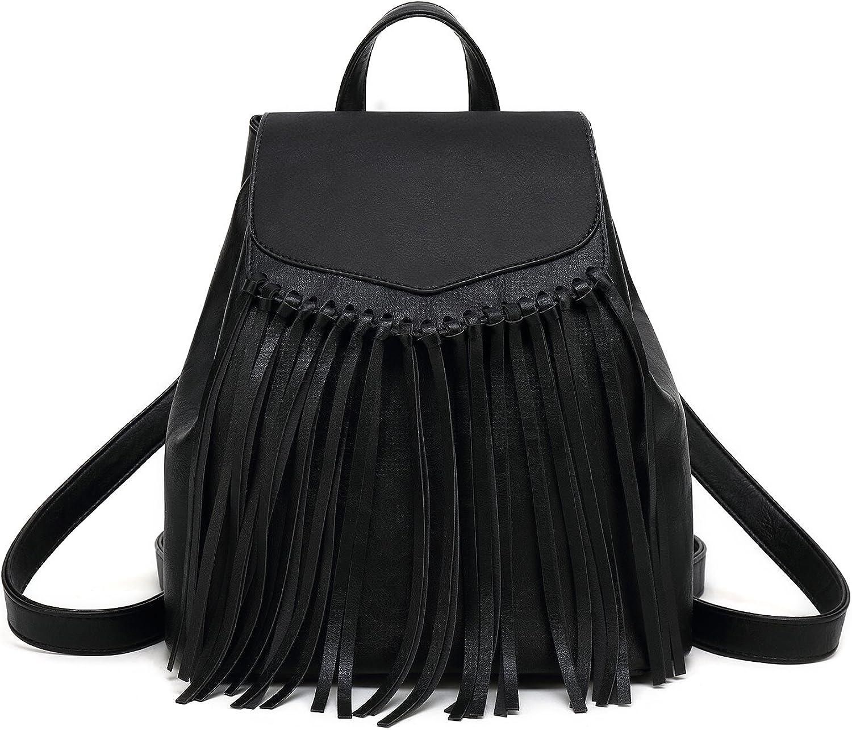 Zebella Leather Backpack Purse for Women Tassel Casual Rucksack Lightweight Daypack Travel Hobo Bag