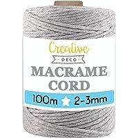 Creative Deco 100 m Licht-Grijs Macrame Koord Katoenen Koord | 2-3 mm (+-0.5 mm) Dikte 15-laags Koord | 328 Voeten…