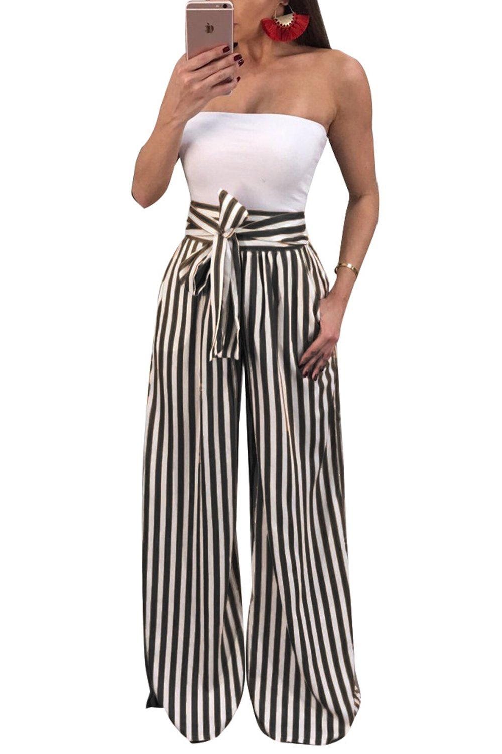 JeanewPole1 Women Casual Striped High Waisted Wide Leg Belted Palazzo Harem Pants (X-Large, Black)