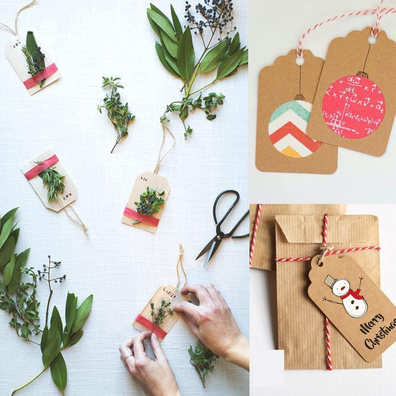 Demarkt 50 Stk Geschenkanh/änger Kraftpapier Etiketten Tags mit Jute-Schnur f/ür Hochzeit Geschenke zum Basteln als Preis-Etiketten Weihnachtsbaum Form