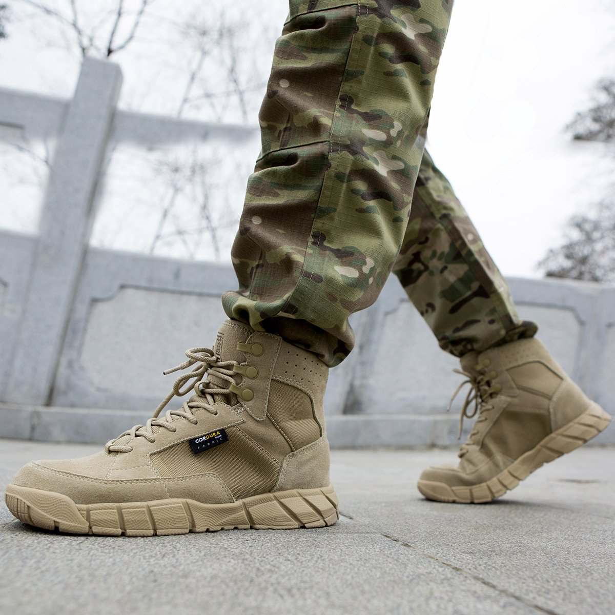 FREE SOLDIER Men's Tactical Boots 6'' inch Lightweight Military Boots for Hiking Work Boots Breathable Desert Boots (Tan, 7) by FREE SOLDIER (Image #6)