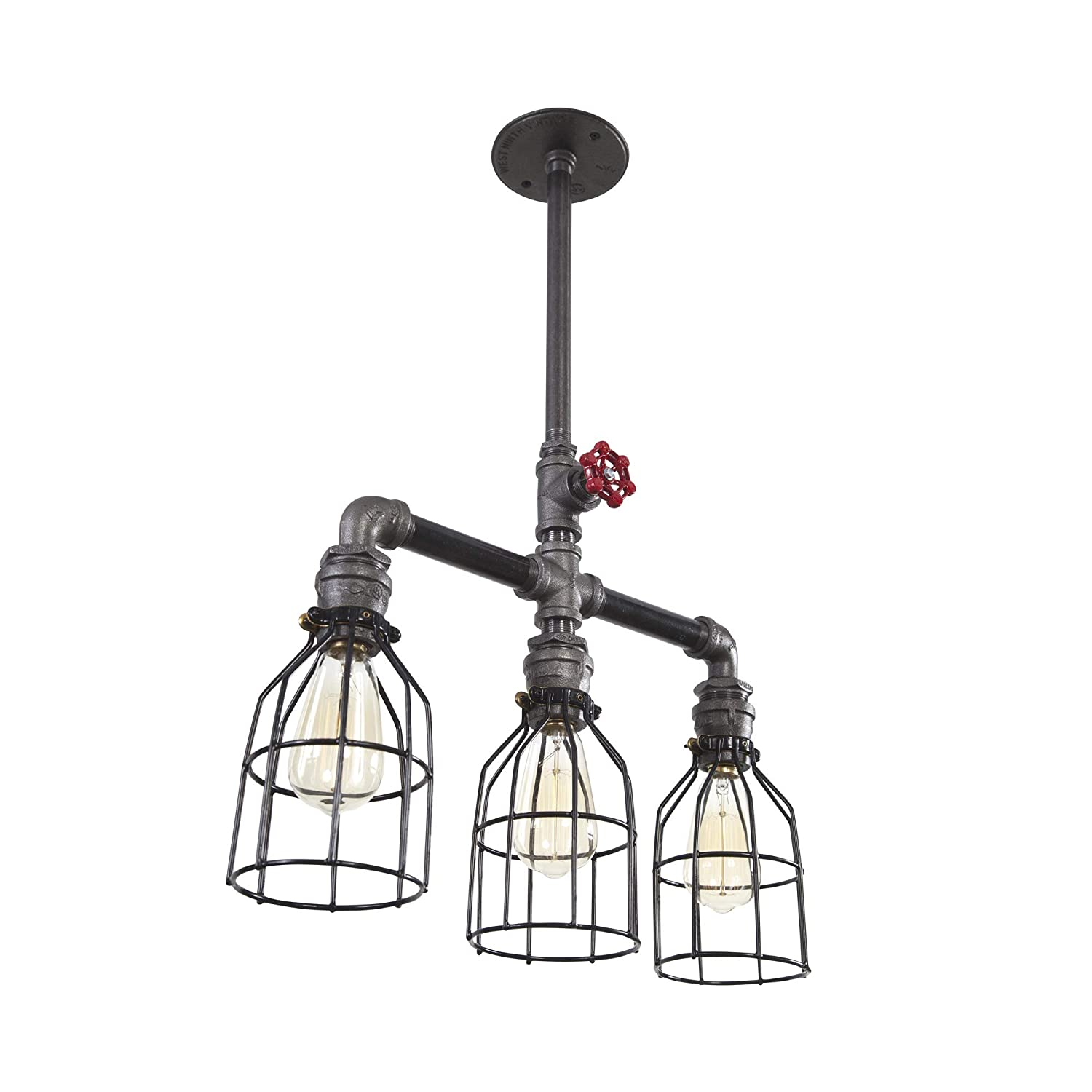 West Ninth Vintage Iron Pipe Industrial chandelier 3 Lights w Cages