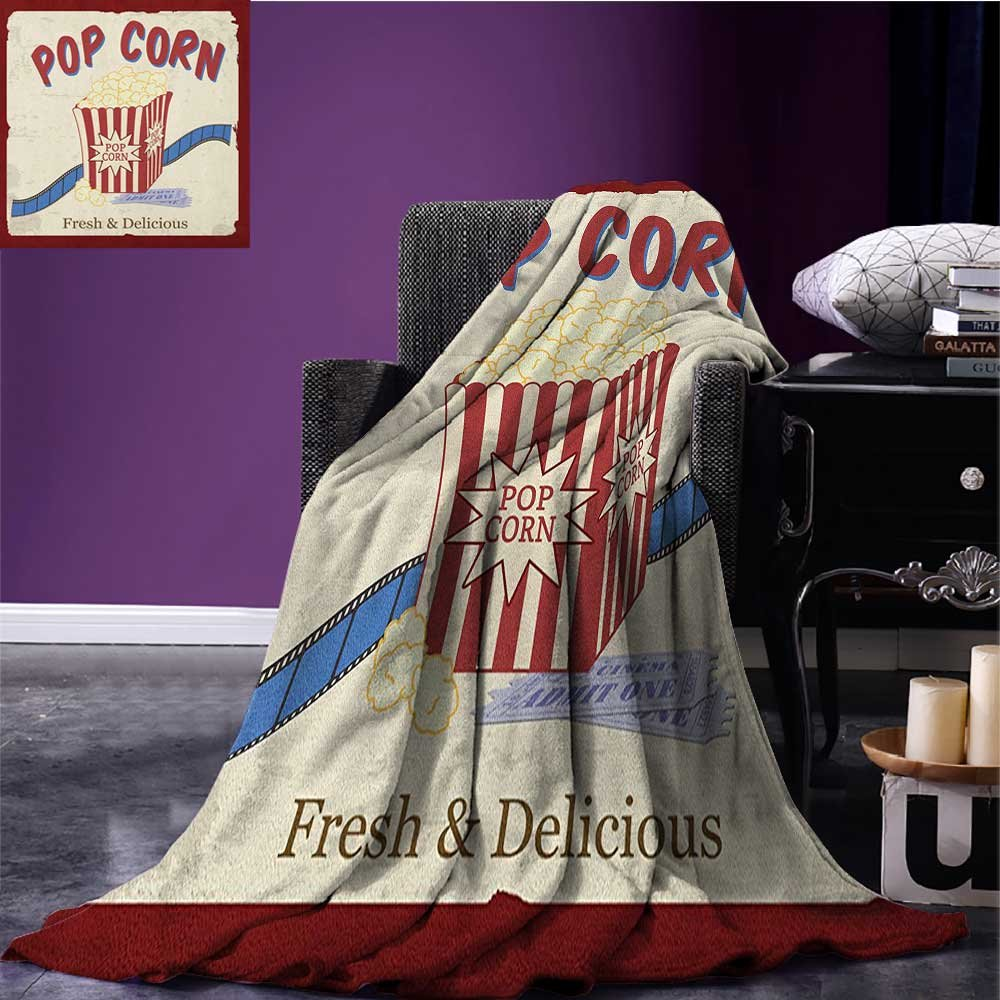 Movie Theater couch blanket Fresh and Delicious Pop Corn Film Tickets and Strip Advertising in 60s Theme Custom Multicolor size:59''x35.5''