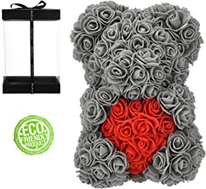 Rose Bear, Hand Made Rose Teddy Bear Flowers, Rose Teddy Bear Gifts for Valentine's Day, Birthday, Mother's Day, Anniversaries Gifts for mom,Gifts for Women (Gray, 10inc)