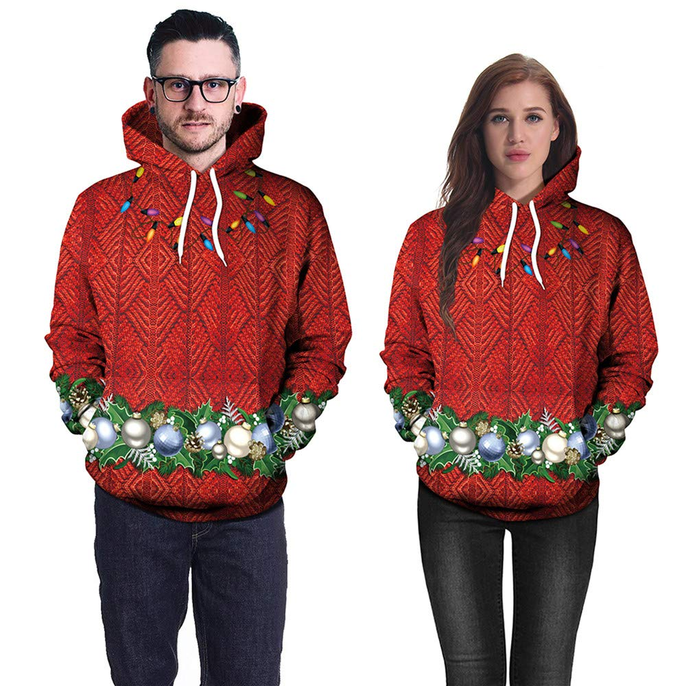 ZODOF Sué ter de Navidad Sudadera con Capucha De Moda para Unisex, Sudadera con Capucha Unisex Colorida HD 3D Impresa Manga Larga Navidad con Capucha Estampada Camisetas