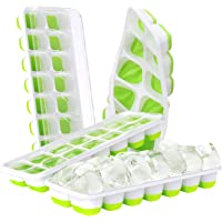 DOQAUS Ice Cube Trays 4 Pack, 【Better Sealing】Easy-Release Silicone & Flexible 14-Ice Cube Trays with Spill-Resistant…
