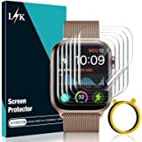 [6 Pack] LϟK Screen Protector for Apple Watch 44mm Series 6/5/4 and Apple Watch SE 44mm with [Circle Installation Tool…