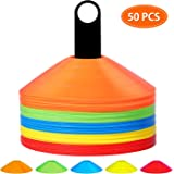 Pro Disc Cones Agility Soccer Cones Disc Cone Sets(Set of 50) with Carry Bag and Holder for Training,Football, Kids…