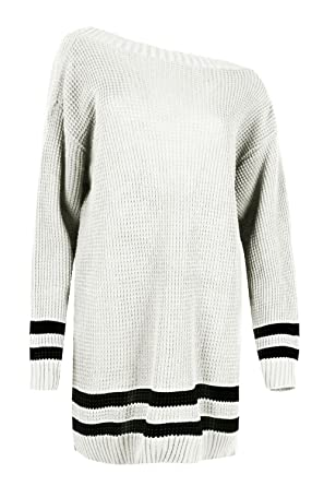Womens Chunky Knitted Off Shoulder Bardot Oversize Baggy Jumper