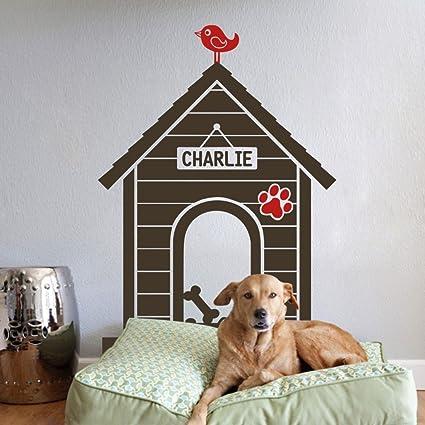 WallsUp Nombre Personalizado para Pared de casita de Perro Mascota de Pared gráfico Mural de Vinilo