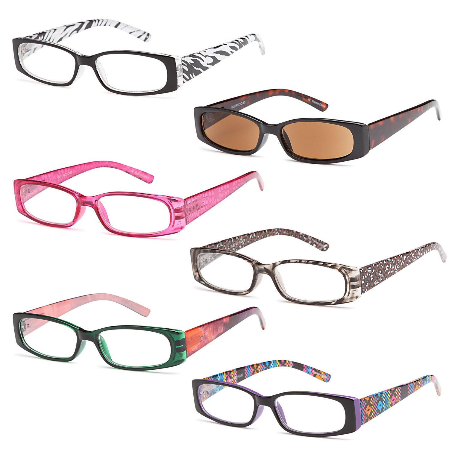 GAMMA RAY READERS 6 Pairs Ladies' Readers includes Sunglass Reader Quality Spring Hinge Reading Glasses for Women by Gamma Ray Optics