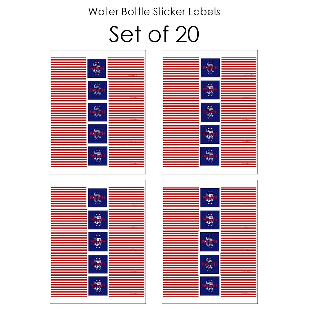 Set of 20 Independence Day Water Bottle Sticker Labels 4th of July