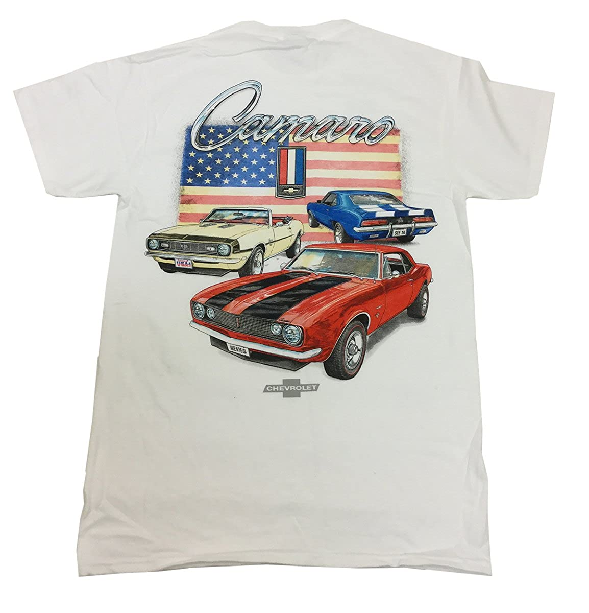 Joe Blow GM Camaros Red and Blue American Flag Short Sleeve T-Shirt White