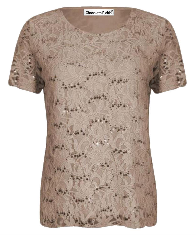 Sequin Detail Evening Party Beige NEW 12-22 Plus Size Lace Net Top