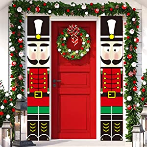 cxwind Nutcracker Christmas Decor Banners-Outdoor Xmas Decorations-Life Size Soldier Model Porch Sign Nutcracker Hanging Flags for Front Door Garden Home Holiday Parties Supplies