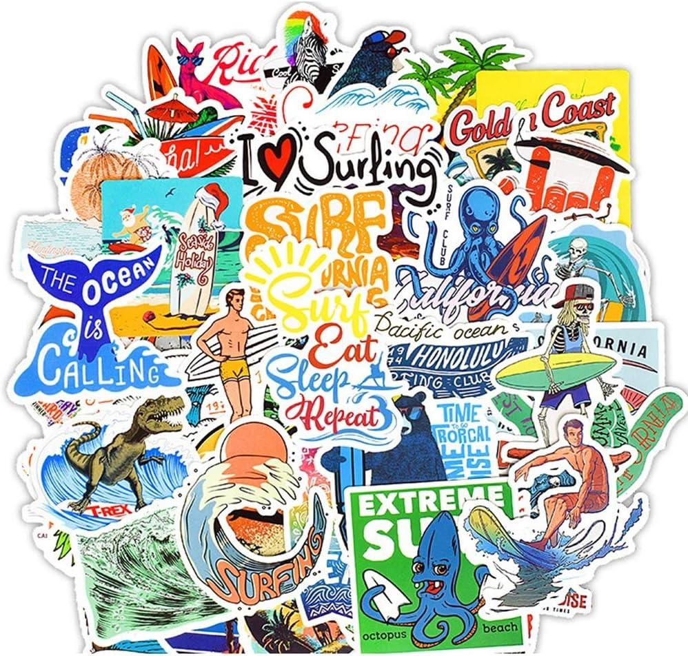 Nature Stickers Variety Vinyl Sticker Decals Laptop Stickers Summer Surfing Stickers Pack for Car Bumper Helmet Suitcase Water Bottle Stickers 50PCS (Summer)