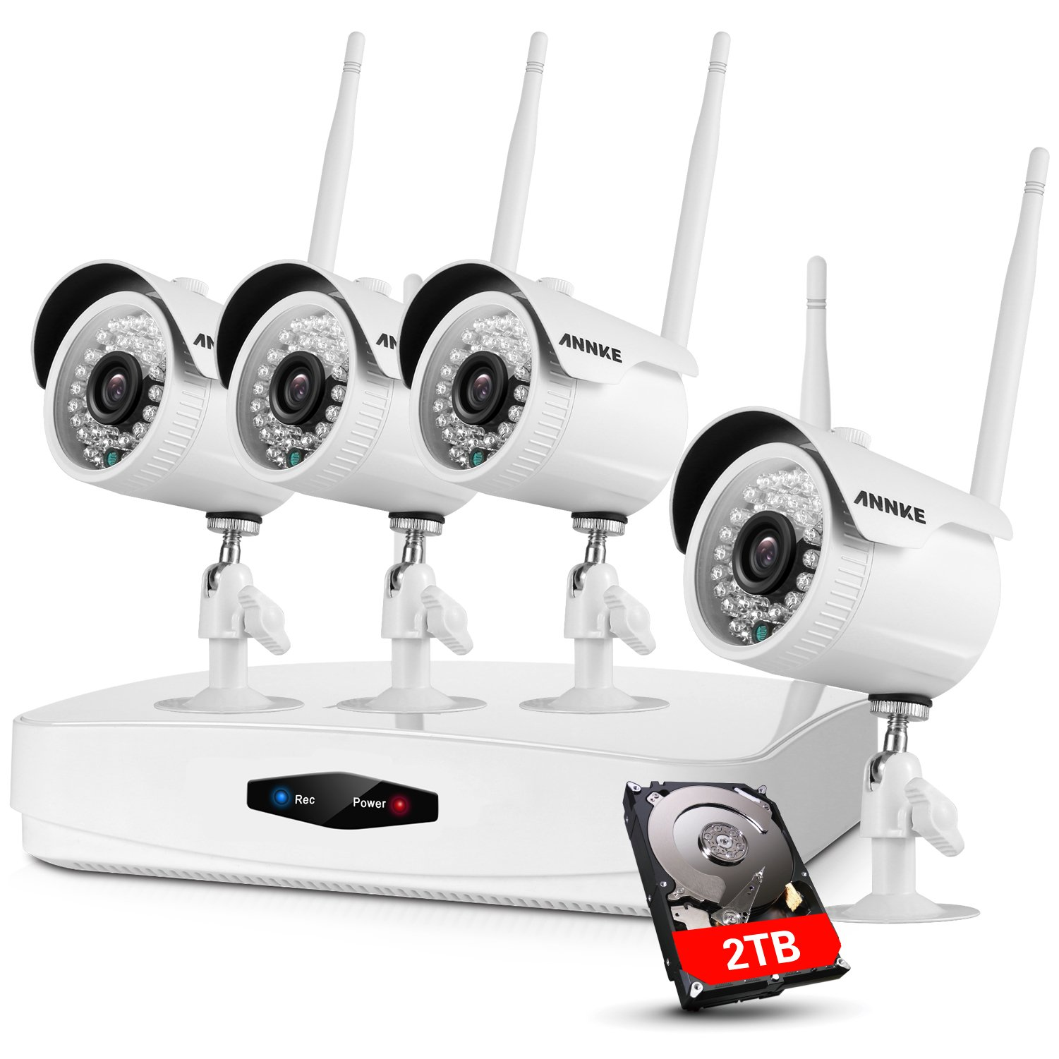 [2018 Newest] Wireless Security Camera System, ANNKE 4CH 1080P Wireless NVR System With 4pcs 2.0MP HD Security Cameras and 2TB Hard Drive, P2P Wifi Home Security System,Email Alarm, Phone Access