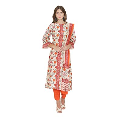 825fe6548d Amazon.com: PinkShink Orange Pure Chanderi Kurta Trousers Dupatta Set:  Clothing