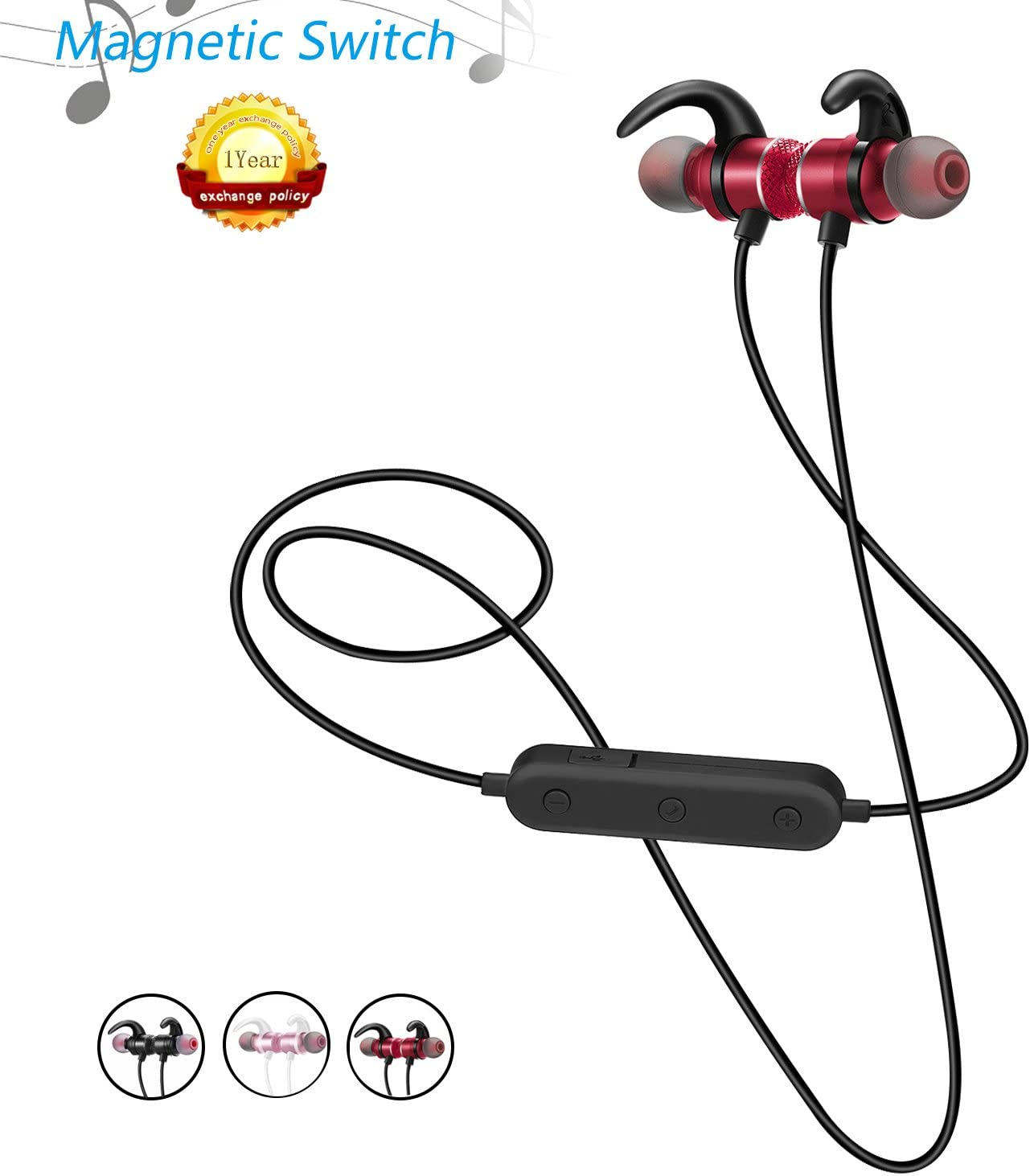 Sport Wireless Bluetooth Headphonewith Magnetic SwitchStereo, Sweatproof, Noise Cancelling, Hands-Free Calling and Voice Notification, Perfect for for Running Workout Gym. -DOUSOUB M1 (red)
