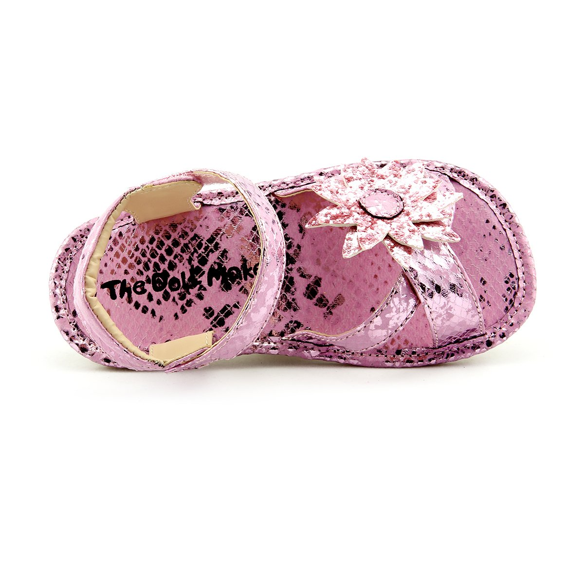 Toddler Size 8 Girls Metallic Brushed Croco Sandal Party Dress Shoes Sparkly Strap with Flower Pink