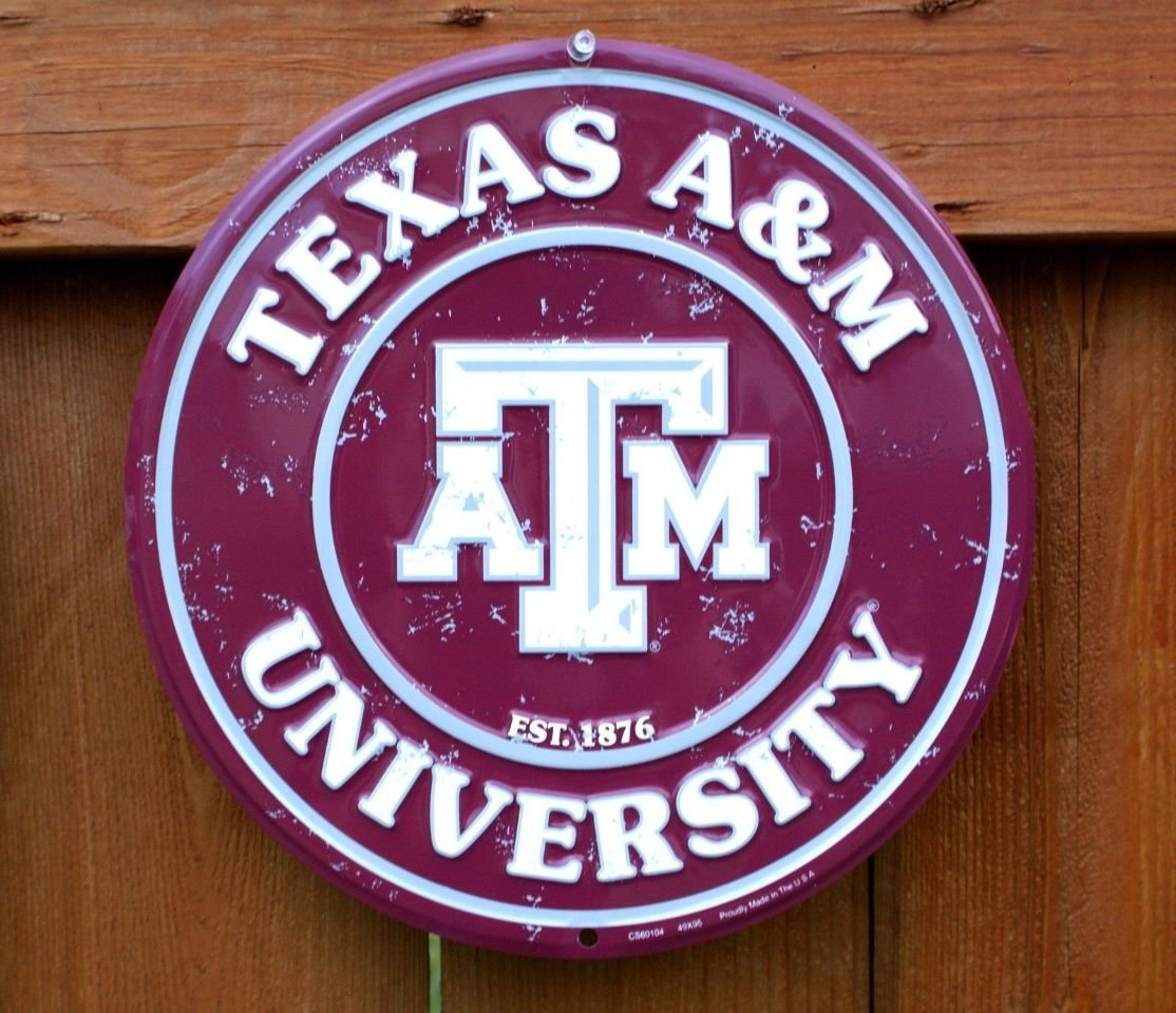 retro Collegiate Embossed Metal Circular Sign CS60104 University of Texas A /& M