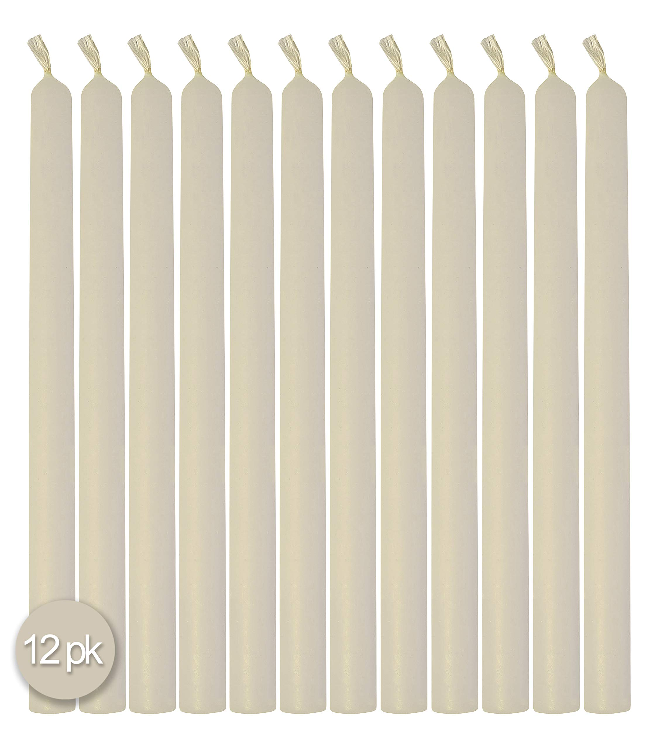 Hyoola 10'' Beeswax Taper Candles 12 Pack - Handmade, All Natural, 100% Pure Scented Bee Wax Candle - Tall, Decorative, White - 10 Hour Burn Time by Hyoola