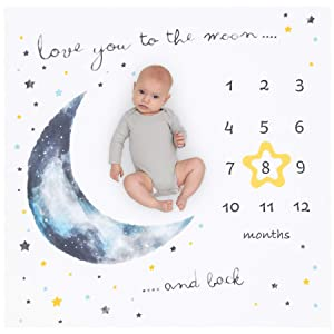 """Organic Baby Monthly Milestone Blanket Moon - Months Blanket Boy with Star Frame - Love You to The Moon and Back Growth Blanket for Newborn to 12 Months Baby Milestones Pictures, 47""""x47"""""""