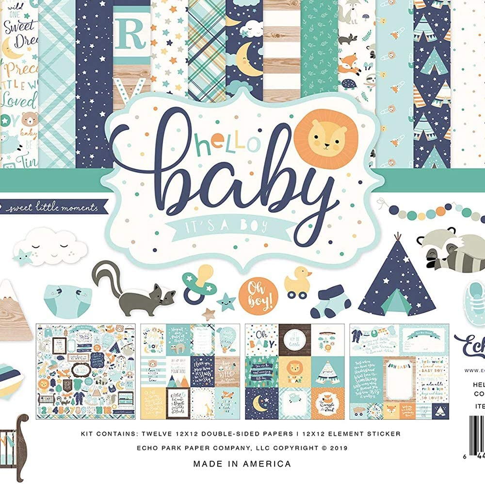 Blue, Yellow, Green, Teal Hello Baby Boy Collection Kit Paper
