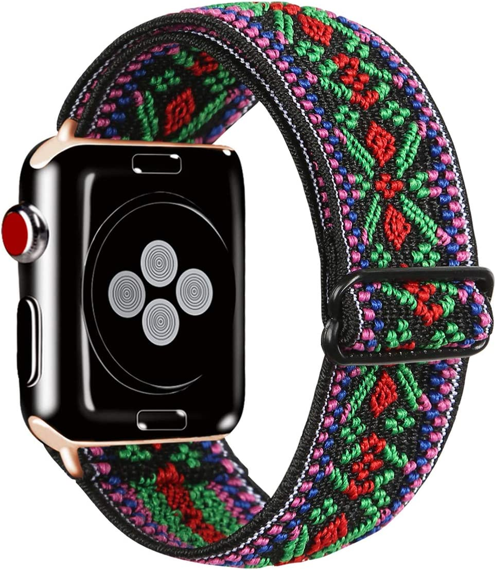 Kraftychix Adjustable Elastic Watch Band Compatible with Apple Watch 38mm/40mm,Soft Stretch Bracelet Women Strap Replacement Wristband for Iwatch Series SE/6/5/4/3/2/1(Aztec Green,38/40MM)