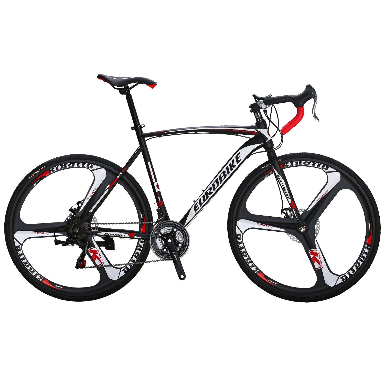 EUROBIKE ロードバイクスチールフレームXC550 700C*28C 変速21段3スポークホイールフロントとリアのディスクブレーキ 街乗りや 通勤 通学自転車 B079CF5NJM黒/白