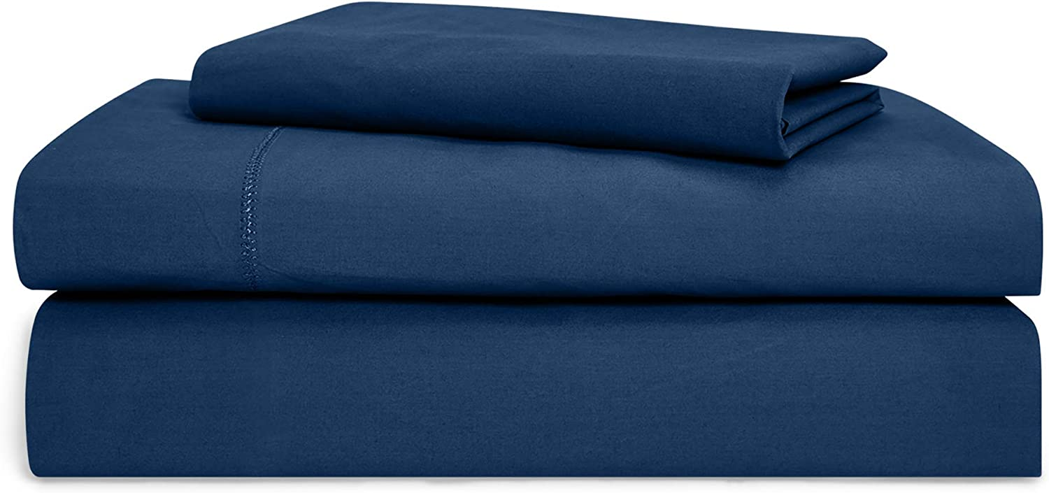Chaps Home Rivington 100% Cotton Solid Brushed 200 Thread Count Bed Sheet Set-15 Inches Pocket (King), DEEP Navy