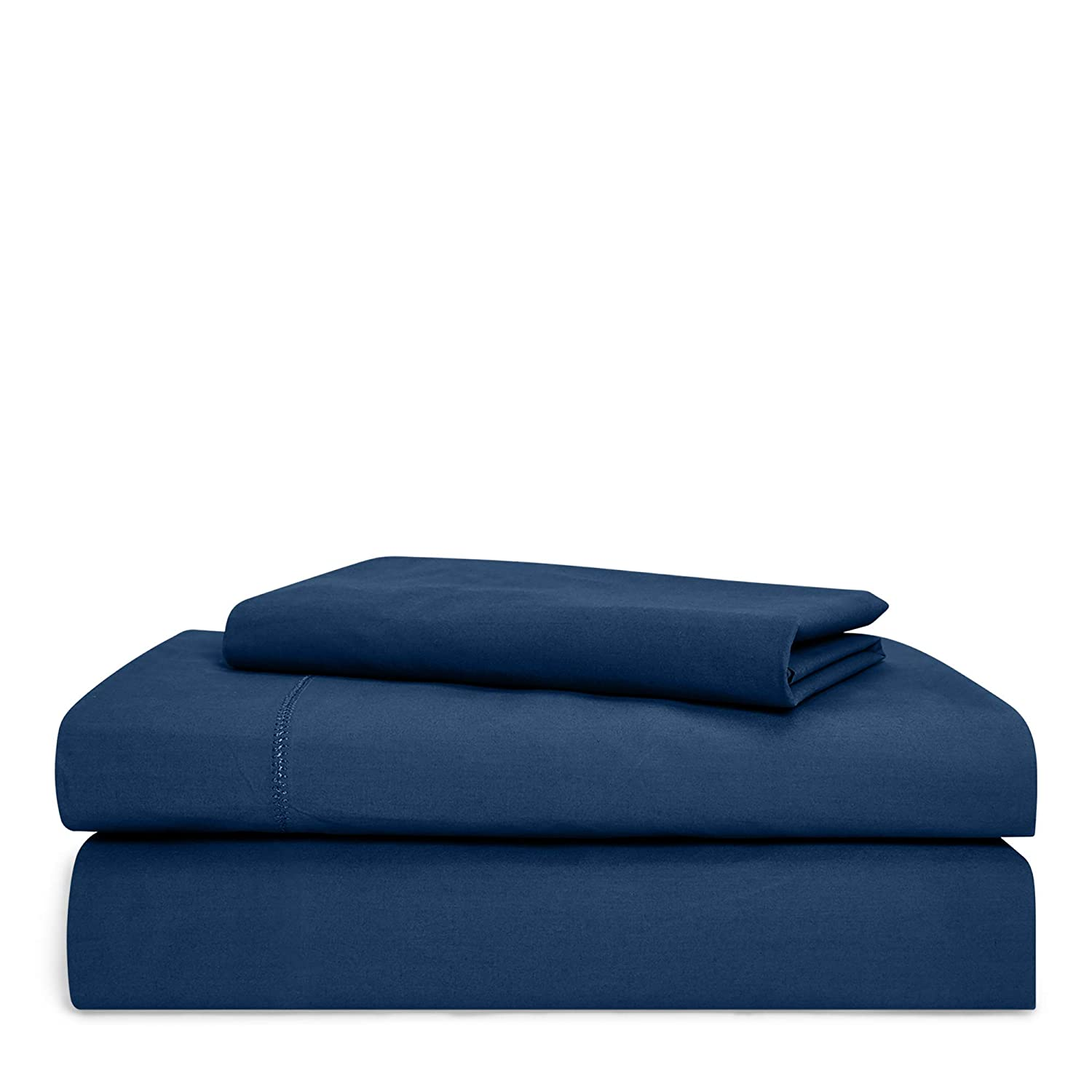 Chaps Home Rivington 100% Cotton Solid Brushed 200 Thread Count Bed Sheet Set-15 Inches Pocket (Queen), DEEP Navy