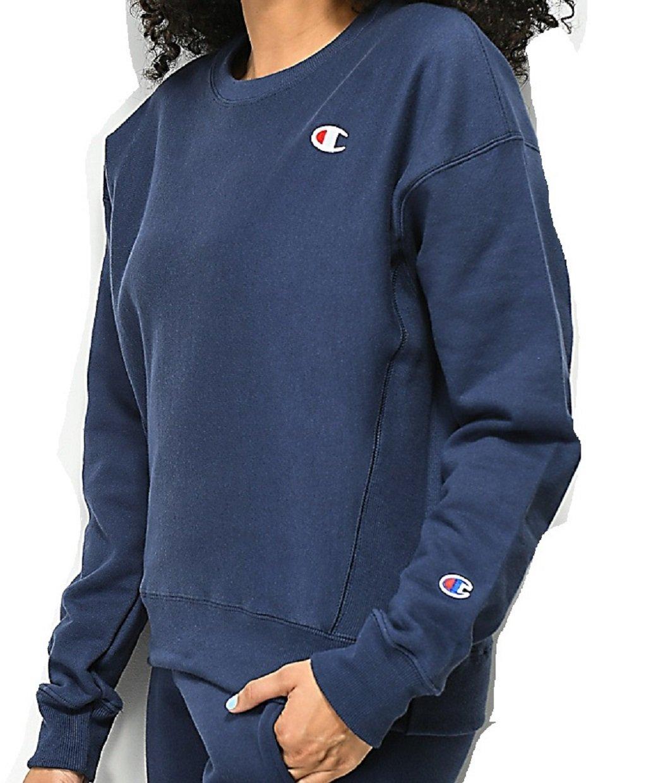 Champion Life Women's Reverse Weave Crew Sweatshirt (Large, Imperial Indigo)