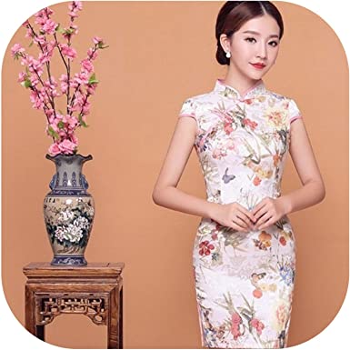 Fashion Women/'s Qipao Chinese Embroidery dress silk slim Evening lady Cheongsam