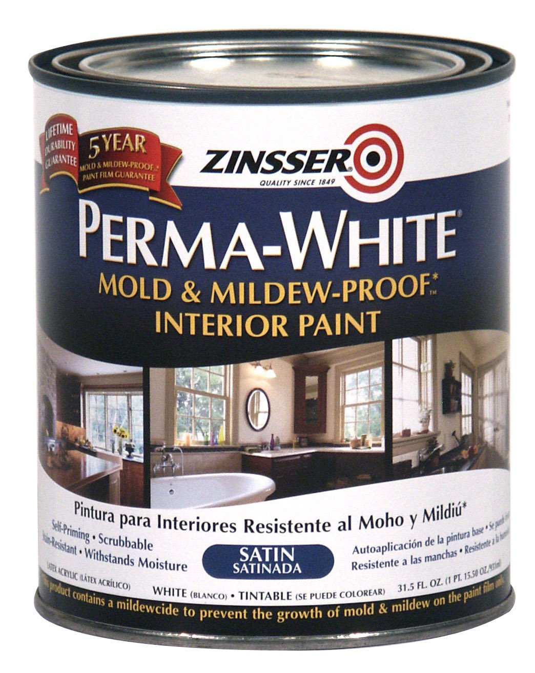 RUST-OLEUM 02704 Bathroom Paint, White Satin