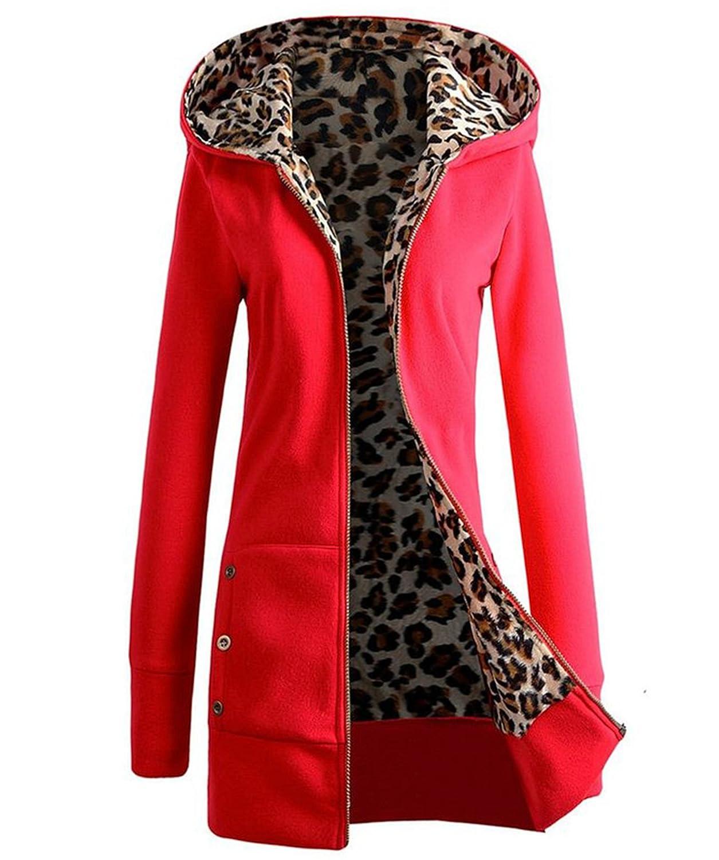 Seastar Womens Hooded Zipper Plus Size Sweatshirt Outwear Sweater Coat Red XX-Large EB84-b6Xf4-Red-XXL