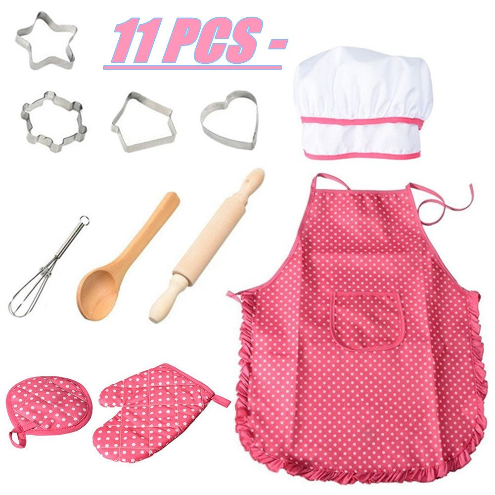 Lumiparty Role-play Chef set for Kids (11 PCS), Pretend Baking Set with Kids Apron, Chef Hat, Cookie Cutters and Other Cooking Kits, Kitchen Role-play Toy, Chef Costume for Kids