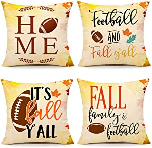 4TH Emotion Fall Football Throw Pillow Cover Farmhouse Autumn Home Cushion Case for Sofa Couch 18 x 18 Inches Cotton Linen Set of 4
