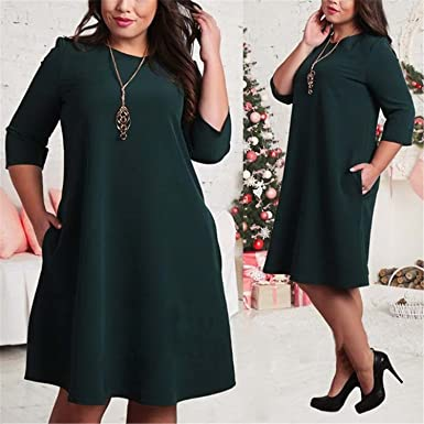 Jonniiy L 6xl Big Size Dresses Office Ladies Plus Size Casual Loose