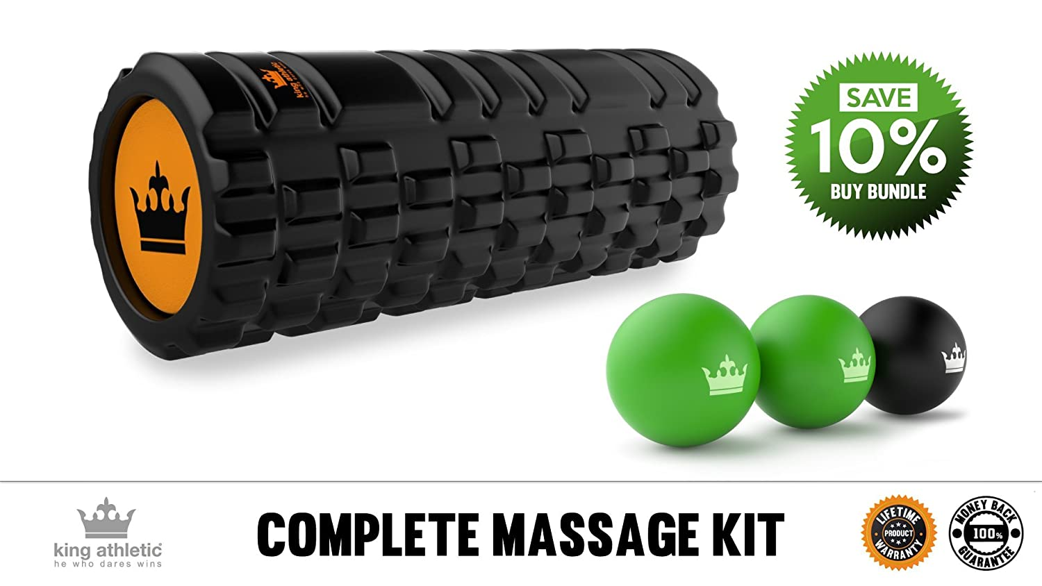 King Athletic Lacrosse Muscle Roller Ball Set | Massage Balls for Deep Tissue, Trigger Point, Physio Therapy & Myofascial Release | Premium Quality Lacrosse Style Rubber Balls