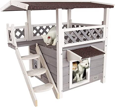 Petsfit 2 Story Weatherproof Outdoor Cat House With Stairs For Cats Up To 18 Pounds Pet Supplies