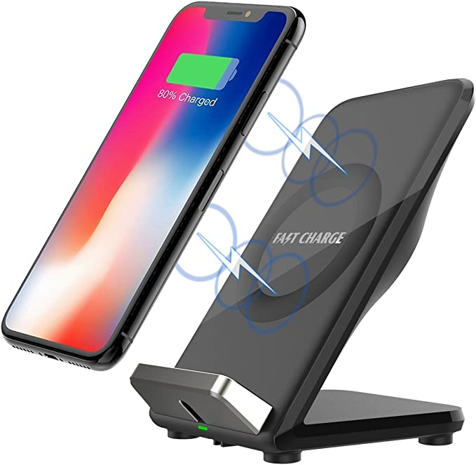 Black 5W Standard Charge for iPhone X//8//8 Plus 10W Fast Wireless Charger Charging Pad Stand for Galaxy S9//S9 Plus Note 8//5 S8//S8 Plus S7//S7 Edge S6 Edge Plus Wireless Charger