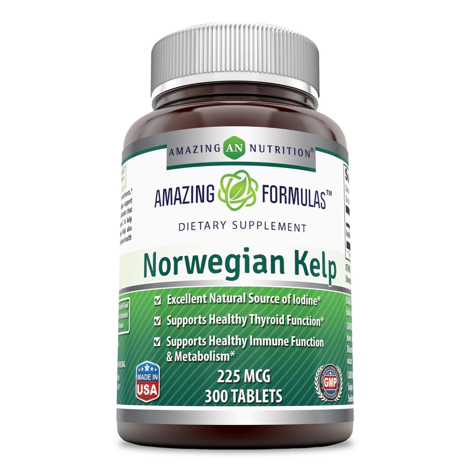 Amazing Formulas Norwegian Kelp 225 Mg 300 tablets - Excellent Natural Source of Iodine - Support healthy thyroid function and Immune System health