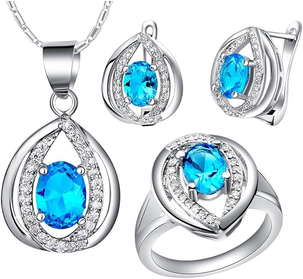 KnSam Collar Plata Mujer, Conjunto de Collar Pendientes y Pulsera, Gota de Agua Azul Cristal Juego de Joyas