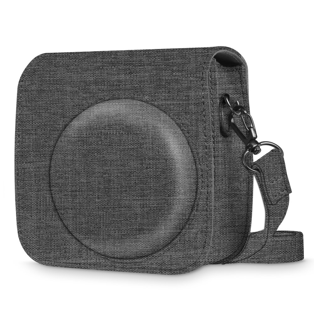 Fintie Protective Case for Fujifilm Instax Mini 8 Mini 8+ Mini 9 Instant Camera - Premium Fabric Bag Cover with Removable Strap, Denim Charcoal